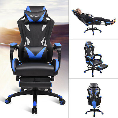 High Back Ergonomic Office Chair Adjustable Swivel Leather Ribbed Seat Computer