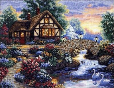 "DIMENSIONS GOLD ""TWILIGHT BRIDGE""CROSS STITCH KIT  Kreuzstich-Stickpackung 35x27"