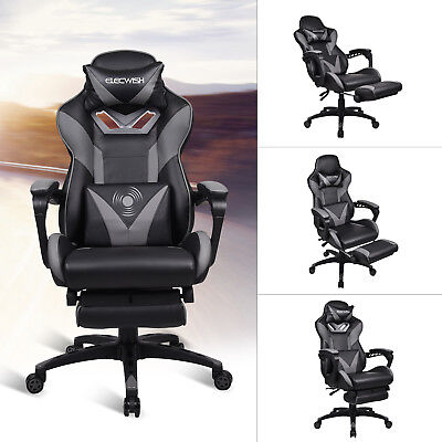 High Back Executive Office Chair Adjustable Ribbed Seat Desk Recliner Footrest