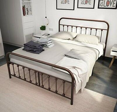TEMMER Metal Bed Frame Queen Size with Headboard and Footboard Single Platform
