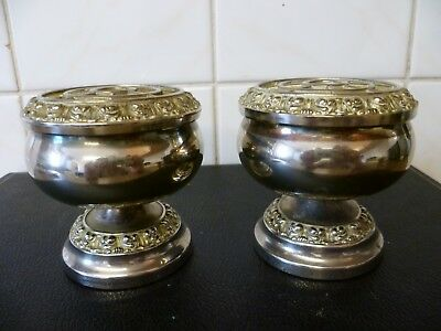 Two Small Viintage, Ornate Silver Plated Rose Bowls, Silver Plated Bud Vases