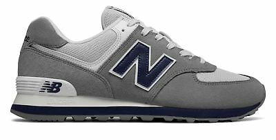 New Balance Men's 574 Core Plus Shoes Grey with Navy