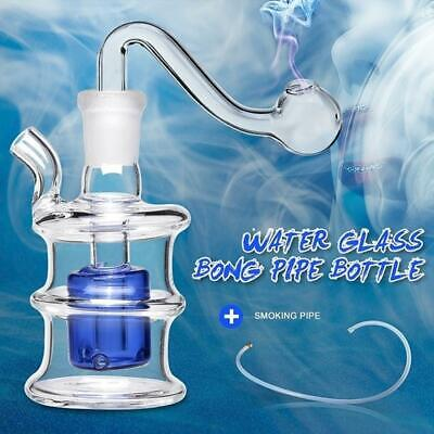 Baby Bubble Glass Hookah Bong Water Pipe 14cm Small Smoking Tobacco Clear & Blue