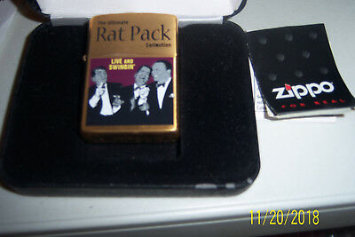 "Zippo "" The Rat Pack "" Gold  Chrome Lighter..no 0688 Of 3000 Mint"