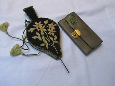Antique Miniature Embroidery Bellows Needle case & Leather Coin Purse 1900's