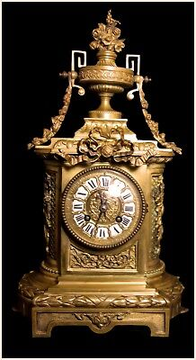 Rare Antique 1850 French Paris Solid Gilt Bronze 8 Day Bell  Mantle Clock