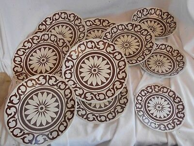 JOB LOT of 10 Pieces of BROWN and WHITE Bianca Maidstone MEAKIN 20cms VINTAGE