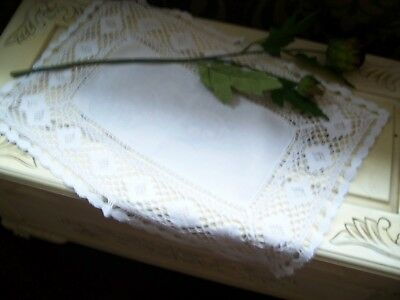 Stunning Vintage I linen tray  cloth wide  crochet lace edge.