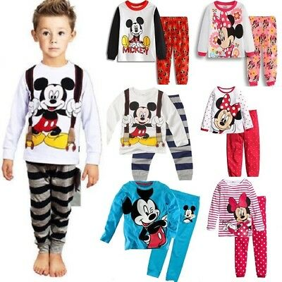 Kids Minnie Mouse Mickey Mouse Pyjamas Set Nightwear Boys Girls