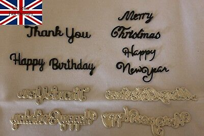 4 x Sentiments Cutting Dies - Birthday,Thank you,Merry Christmas,Happy New Year,