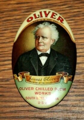 Rare Oliver Tractor Corporation Advertising Mirror Oliver Chilled Plow Works