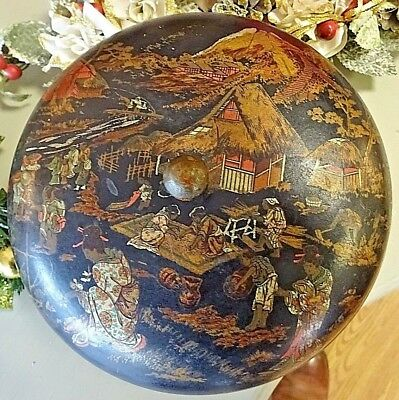 Antique Larger Japanese Lacquered Papier Mache Domed Round Box Hand Painted