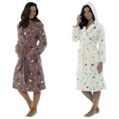 Ladies Tom Franks Luxury Hooded Fleece Robes Dressing Gowns Soft Warm Winter