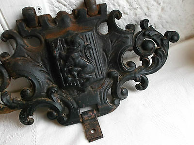 """French solid cast iron plaque antique decorative item"""" the sword and the lion"""""""