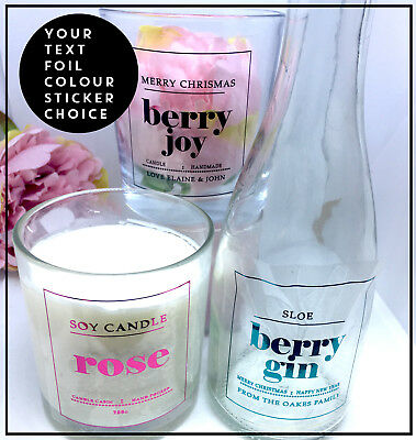 Candle stickers foil label wedding, food,custom drink Transparent Personalised