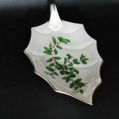 """LENOX 10-3/8"""" Handled Leaf Shaped Candy Dish HOLIDAY Dimension Collection Holly"""