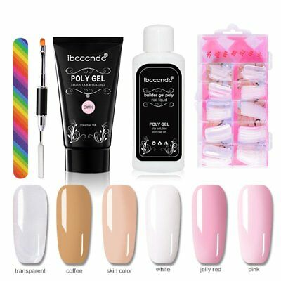 Nail Tips Extending Poly Builder Gel Set Nails Kit UV Gel French Nail Manicure A