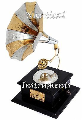 1940s Showpiece Handmade Decorative Vintage Brass Gramophone Retro Phonograph