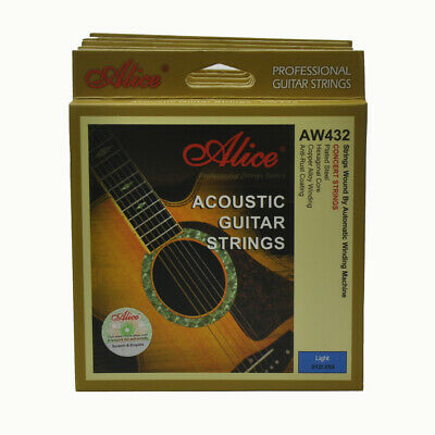6Sets Alice Acoustic Guitar Strings Hexagonal Core Coated Copper AW432L 012