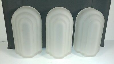 SET of 3 VTG ART DECO SLIP SHADES GLOBES FROSTED GLASS WALL SCONCE LIGHT LAMP