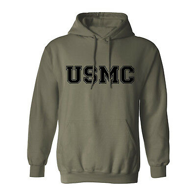 """""""USMC"""" Athletic Marines Hooded Sweatshirt in Military Green - Adult Small to 5XL"""