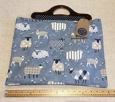Knitting Bag, Handmade, Quilted Sheep Fabric