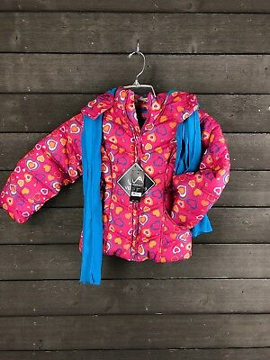 NWT Vertical9 2855 Pink Hearts Hooded Puffy Coat Girl's 5T