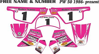 pw50 decals graphics yamaha custom laminated motocross graphics factory pink