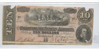 "$10 (Confederate Note) ""rare"" 1800's $10(Actual Autographs) Rare Confederate"