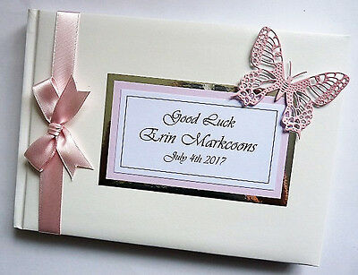 Personalised Wedding Guest Book With Butterfly And A Buckele - Any Colour
