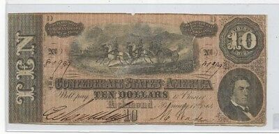 "$10 (Confederate Note) ""csa"" 1800's (Actual Autographs)#2 1800's Blueback Note"