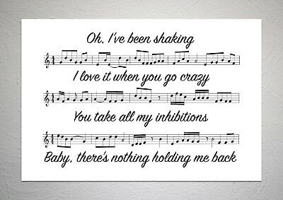 Shawn Mendes - There's Nothing Holdin' Me Back - Song Sheet Print Poster Art
