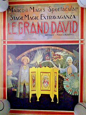 "VINTAGE~LE GRAND DAVID POSTER (12x18"") FROM THE WORLD RECORD SETTING MAGIC SHOW"