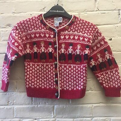 Vtg Girl 4-5 All Wool Nordic People Cardigan Red Sweater Silver Buttons