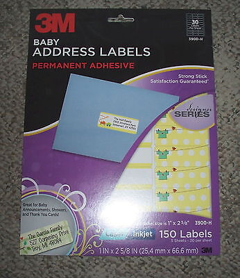 "150 Baby Announcement Address Labels 3M 1"" X 2.62"" Laser or ink jet"