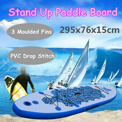 295x76x15cm PVC Inflatable Surfing Board Stand Up Surfboard Paddleboard Pump Kit