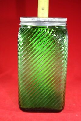 (A10) Vintage Owens Illinois Canister: 1930's Emerald Forest Green w/Lid (#2)