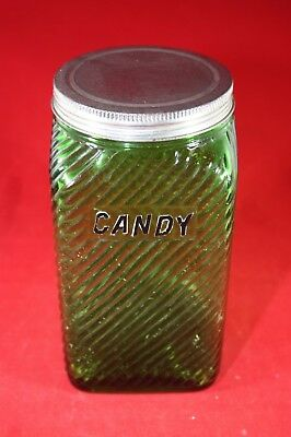 (A10) Vintage Owens Illinois Canister: 1930's Emerald Forest Green w/Lid (#3)