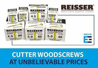 Reisser Cutter Screw Countersunk Pozi Yellow Lubricated Qty 100 / 200