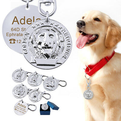 Dog Tag Stainless Steel Personalised Engraved ID Name Tags Sliver for Labrador