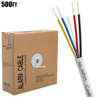 UHPPOTE 22 AWG Gauge 50ft 4 Conductor Bare Unshielded Cable Alarm Security Burglar Wire