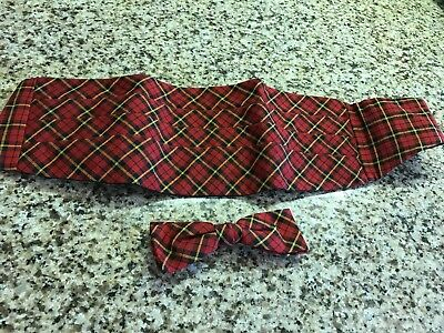 Vintage Red Plaid Cumberbund, Bow Tie Lot 2