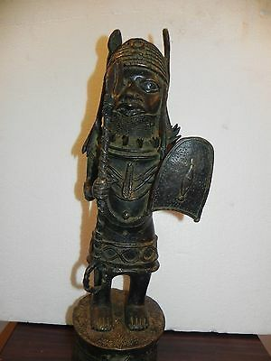 "Arts of Africa - Bronze Palace Guard - Benin , Nigeria  - 19"" Height x 5"" Wide"