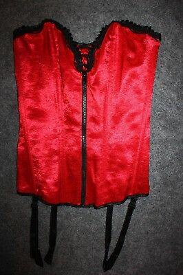 FREDERICK'S OF HOLLYWOOD Corset Red Satin Zipper Sexy Holiday Small