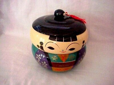 vintage Japanese laquer style Geisha girl bento soup  rice snack bowl excellent