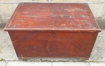 Victorian Stained Pine Blanket Box Trunk Wooden Chest Coffer Mule Chest
