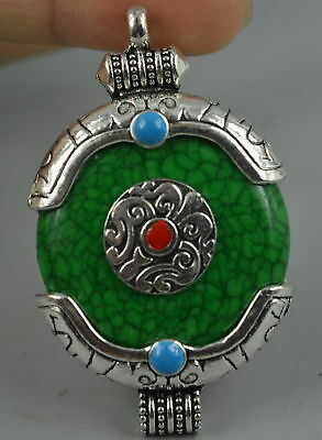 Decor Collect Tibet Silver Carve Totem Inlay Turquoise Rare Wonderful Pendant