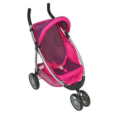Girls Jogger Toy Baby Doll Pram Pink Stroller Buggy Pushchair Kids Travel System
