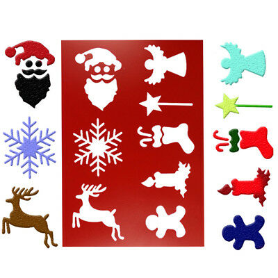 Christmas Deer snowflake Cake Stencil Spray Craft Mold Strew Baking Tools 3T