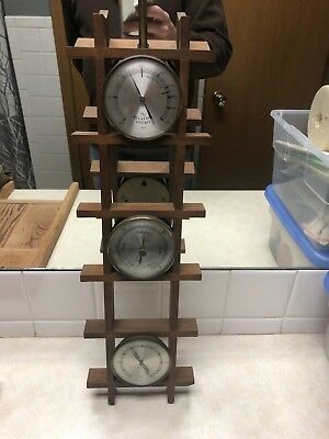"Vintage 21 1/2"" Wood Weather Station Germany / West Germany"